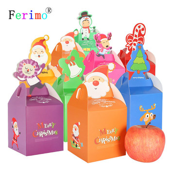 100pcs Christmas gift box carton Christmas apple candy box hand portable cookie boxes gift packing box party supply favors decor