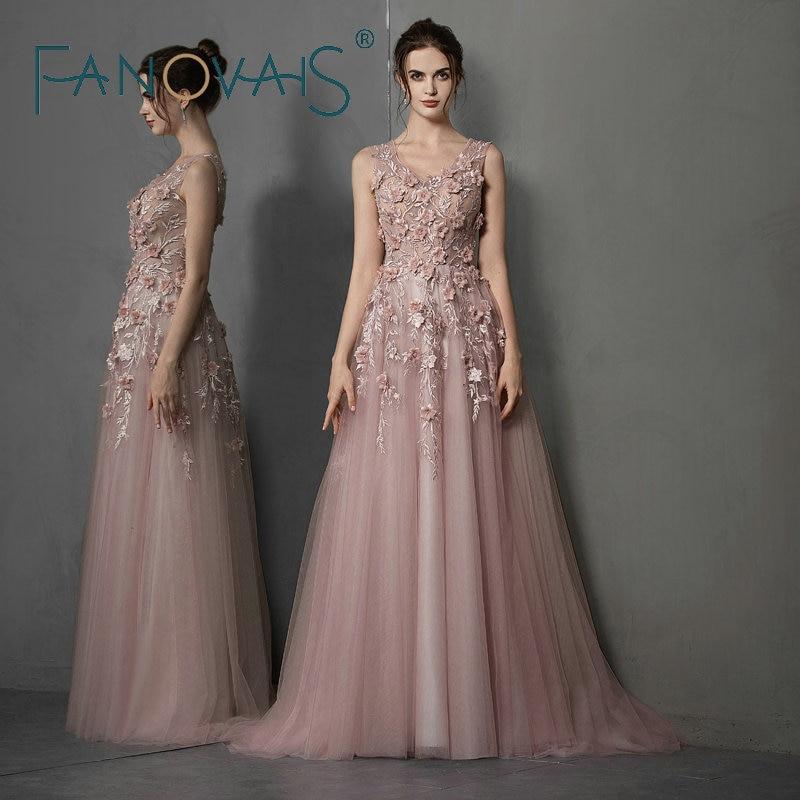 Elegant Long Evening Dresses 2019 3D Flowers Prom Dress Elegant Formal Dress For Women Vestido de Novia Longo abiye gece elbises