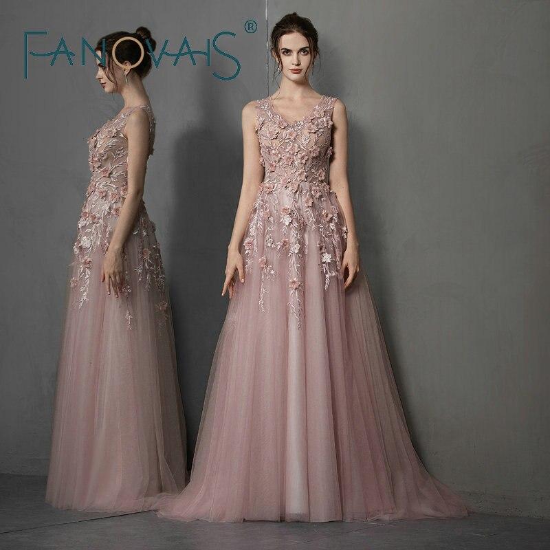 Elegantes Vestidos de Noite Longos 2019 3D Flores Vestido de Baile Elegante Vestido Formal Para As Mulheres Vestido de Novia Longo gece abiye elbises