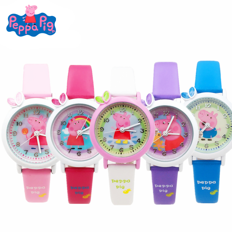 New Peppa Pig Cartoon Figure Watch Toys Children's Electronic Waterproof Watch Leather Strap Boys Girl Quartz Watch Kids Gift