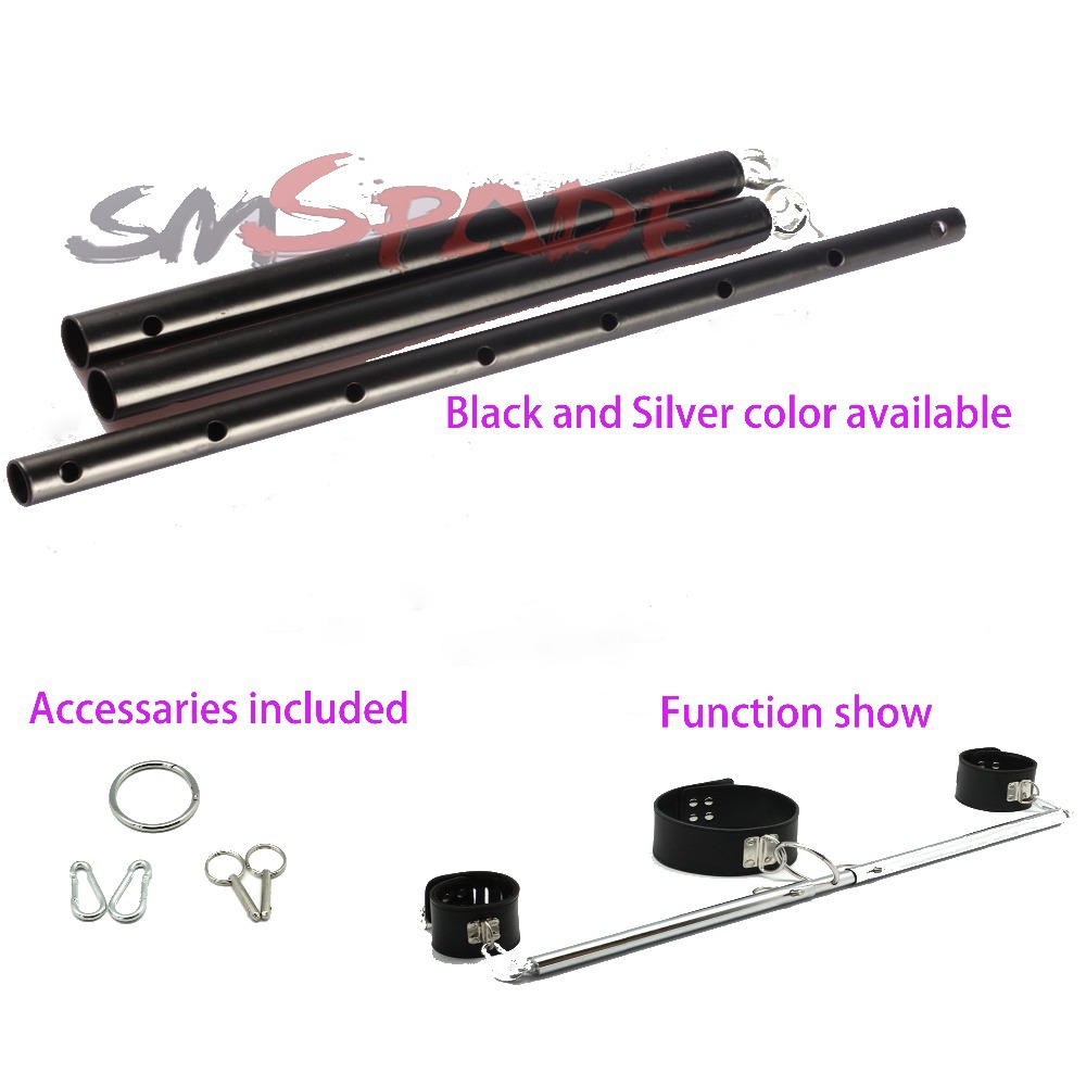 Sex restraint adjustable spreader bar, Chrome Leg Restraints Without Cuffs Fun Play ,adult sexy game