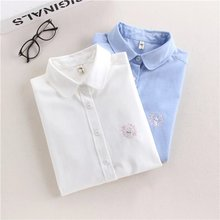 EYM Brand Rabbit Embroidery Long Sleeve Women Blouses Shirts White Blue Female Casual Shirt Tops Simple Art Style Blusas Blouse