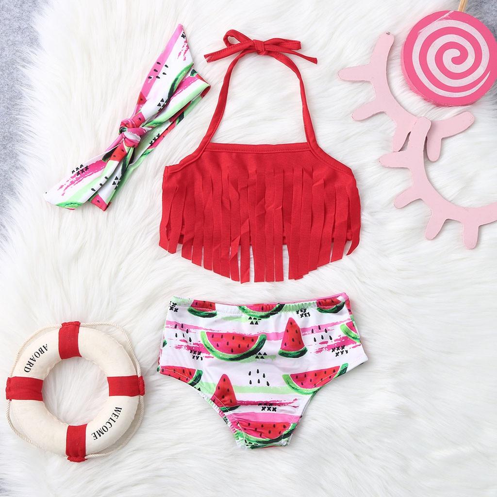 Newborn Baby Girl Bikini Suit Swimwear Swimsuit Tassel Summer Bathing Beachwear