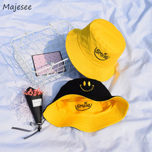 2dad614d05c6b5 Bucket Hats Women Letter Embroidered Double-sided Fisherman Hat Korean  Style Solid Climbing Outdoor Sun