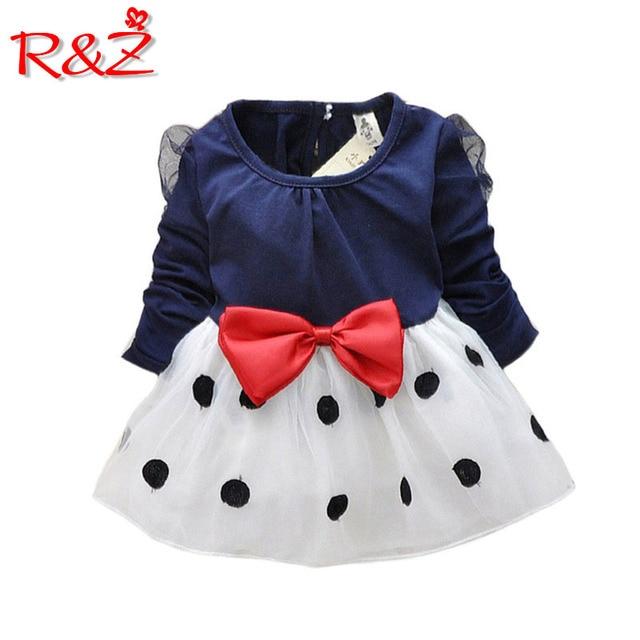 R & Z bebé niña vestido nuevo 2019 vestidos para niñas bebe recién nacidos niñas bowknot de manga larga princesa vestido de las Niñas Ropa