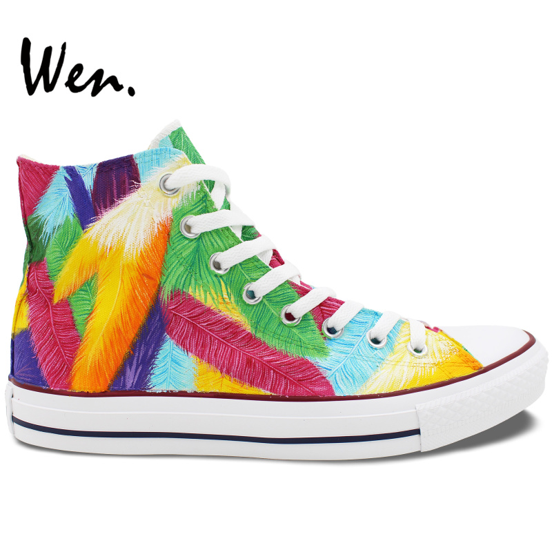 ФОТО Wen Original Design Custom Hand Painted Shoes Colorful Feather Women Men's High Top Canvas Sneakers Christmas Gifts