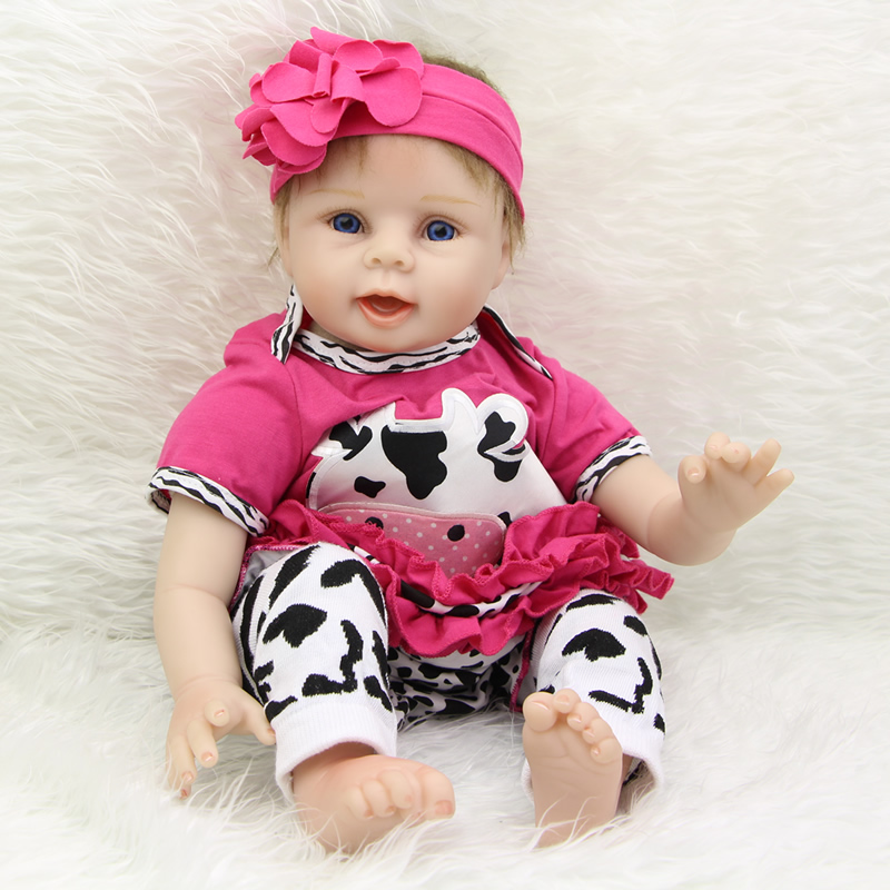 Girls Gift 22 Inch Reborn Baby Dolls New Style Soft Silicone Newborn Realistic Babies Dolls With Cow Clothes Kids Birthday Gift big discount 2017 new fashion high quality 22 inch reborn babies doll soft silicone boy dolls newborn kids birthday gift