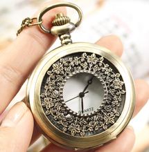 wholesale value good high quality trend woman quartz new bronze classic flower determine pocket watch necklace with chain