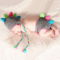 Newborn Photography Props Crochet Dinosaur Costume Baby Beanie Hat Knit Outfits Clothing Set A105 Infant Baby Photo Props