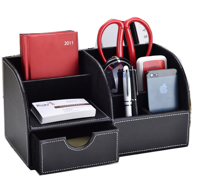 Office Desk Organizer Remote Control Holder Desktop Storage Box Pen Leather Mobile Phone Case Dgnsnh