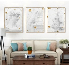 HD Print 3 Piece Geometry Canvas White Sculpture P