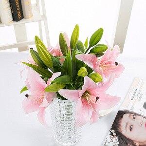 Image 2 - Diy 3 cabeças de toque real artificial lírio flores casamento nupcial falso flores buquê plantas lírio branco decoração festa em casa para exibição