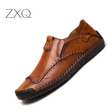 Men's Driving Shoes 2019 Men Genuine Leather Loafers Shoes Fashion Handmade Soft Breathable Moccasins Flats Slip On Shoes цена