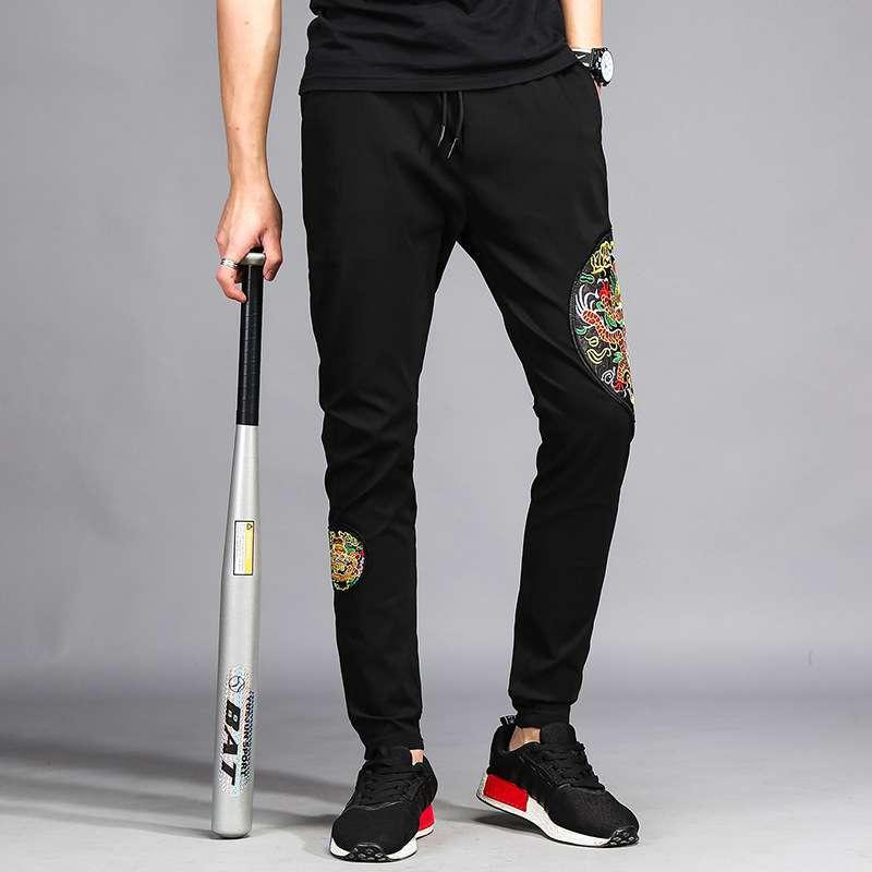 #1910 Embroidery Harem Black sweat pants Hip hop Straight Loose Streetwear Mens joggers Lightweight Track pants Quick-dry M-3XL