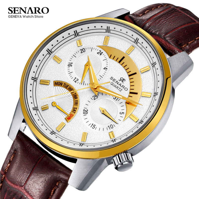 SENARO Casual Women Watches Cowhide Genuine Leather Band Quartz Wristwatch Luxury Ladies Watch Gift for Women montre femme S35 simple casual wooden watch natural bamboo handmade wristwatch genuine leather band strap quartz watch men women gift