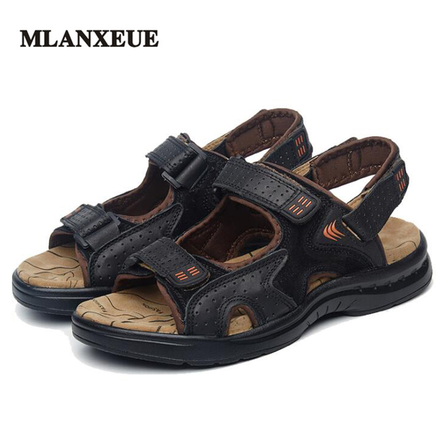 MLANXEUE Genuine Leather Plus Size Men Sandals Comfortable Soft Flip Flops Non-Slip Beach Men Shoes Male Causal Shoes