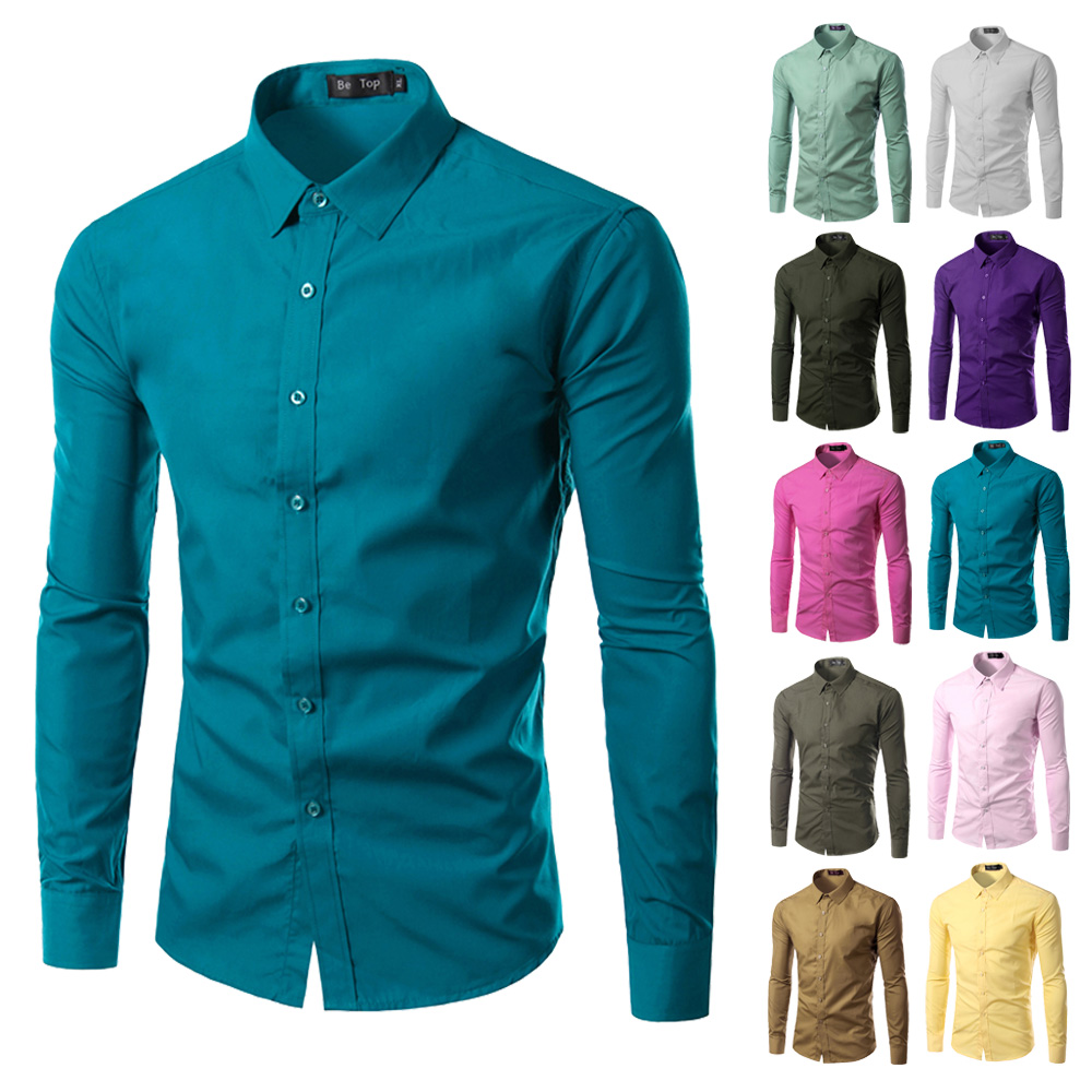 2017 Fashion Brand Mens Shirt Long Sleeve Camisa Masculina
