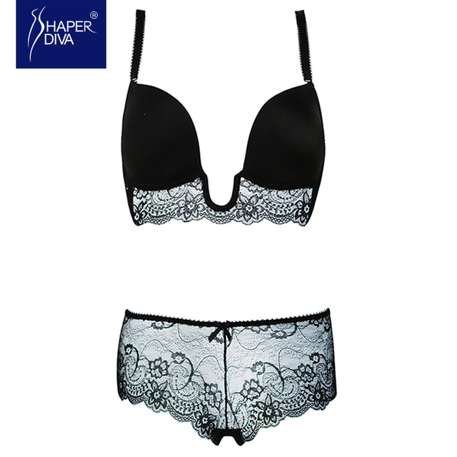 7bd79c209 Burvogue Women Lace Deep V Bra Sets Sexy Style Plunge Bra Sets and Panties  with Padded