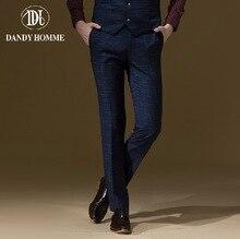 Dandy Homme High Quality 2015 Men Autumn Winter Warm Fashion Blue Super Slim Formal Suits Long Pants Wedding Groom Pant Business