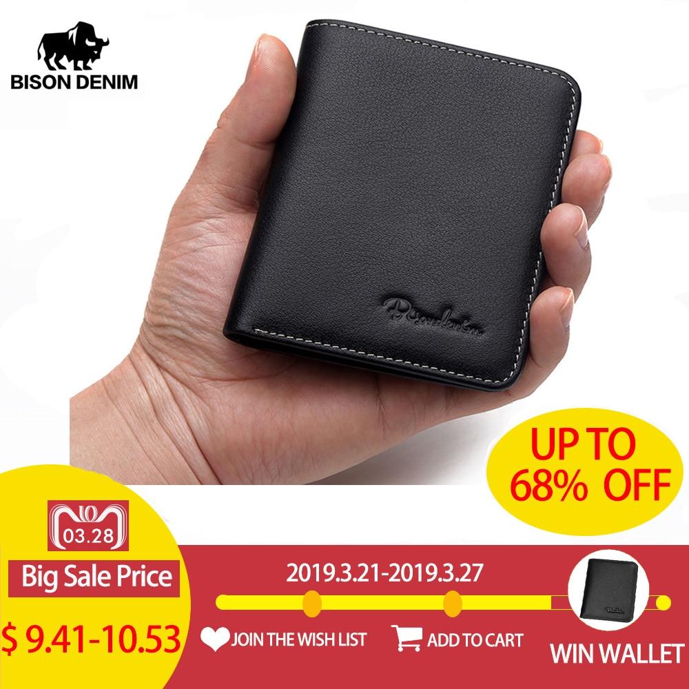 00892ee3a BISON DENIM Bolsa Preta Para Os Homens de Couro Genuíno Carteiras Titular  do Cartão Fino Carteira