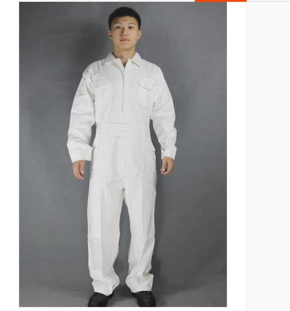 Men's Cotton Jumpsuits One-piece Tide Men's Tooling White Work Overalls Long Sleeve Working Coveralls Workwear Repairman Xs-3xl 2