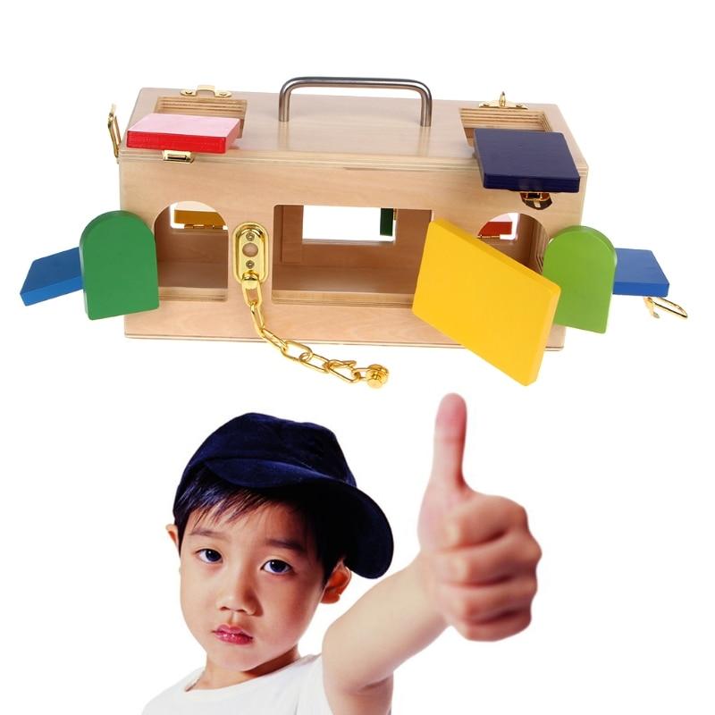Caja de bloqueo de colores Montessori juguetes educativos para niños en edad preescolar 95AE - 2