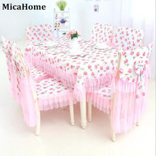 Фотография Pink Lace Tablecloths Chair Cushion Covers Korean Dining Table Polyester Cover Furniture Fabric Cloth High Quality Textile Decor