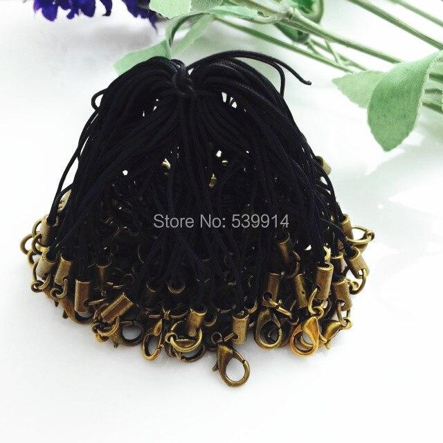 100 Unids/lote Negro 7 cm Celular Lariat Correa de Cordón Cordones de Teléfono M