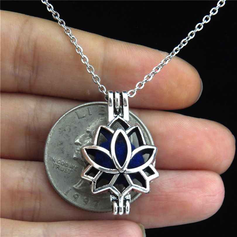 VV52 Lotus Flower Locket Necklace Beads Cage Engelsrufer Pendant Aromatherapy Essential Oil Diffuser Necklace Kids Chime DIY