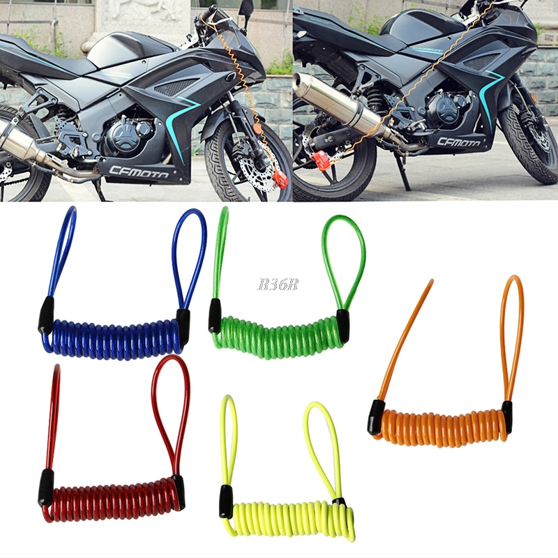 QILEJVS New Motorcycle Bike Scooter Alarm Disc Lock Security Spring Reminder Cable Strong APR22