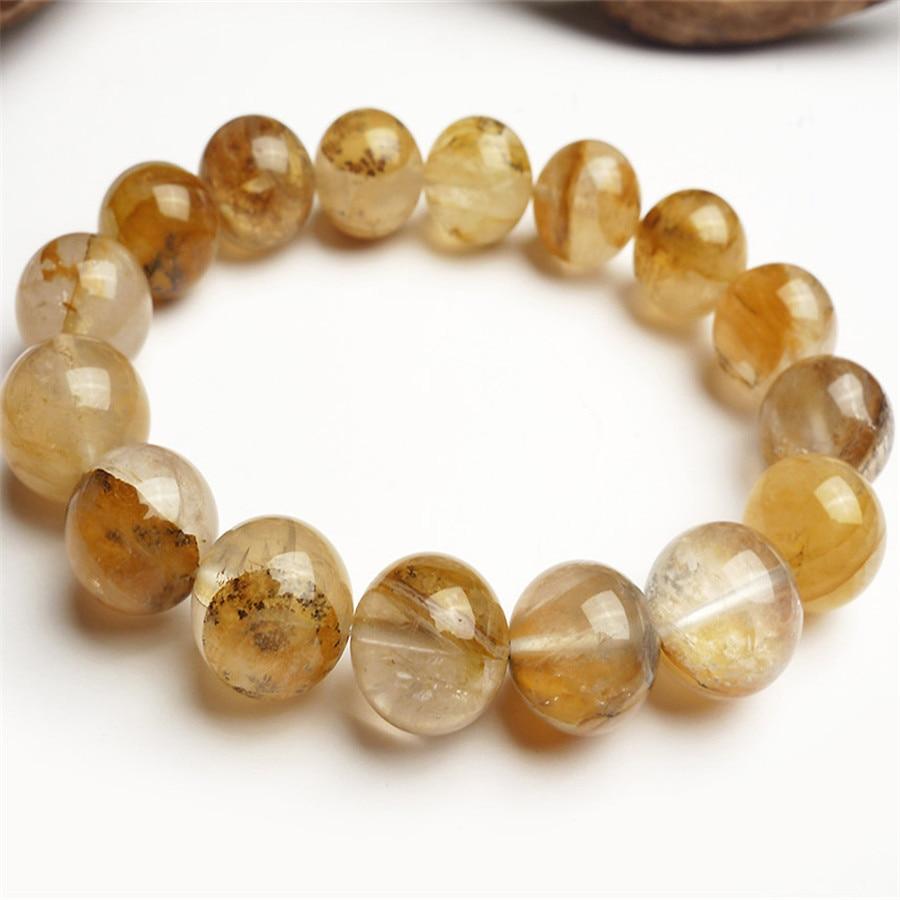 14mm véritable arbre en bois pétrifié cristal Quartz charme pierre naturelle ronde perle Bracelets femme extensible bracelet à breloques