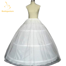 New Ball Gown 3 Hoops Petticoat White Bridal For Wedding Dresses Quinceanera Dresses Crinoline Underskirt with Lace Edge QA994