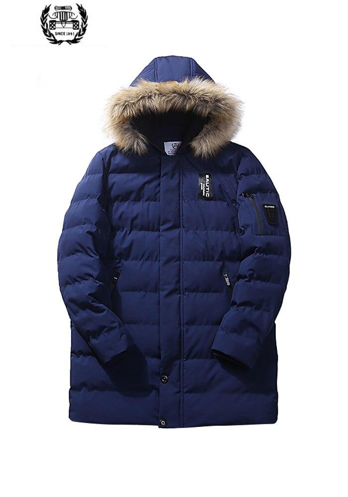 M ~ 4XL grande taille 2019 automne hiver droite hommes Parkas & Down vestes et manteau fausse fourrure col décontracté marque-vêtements