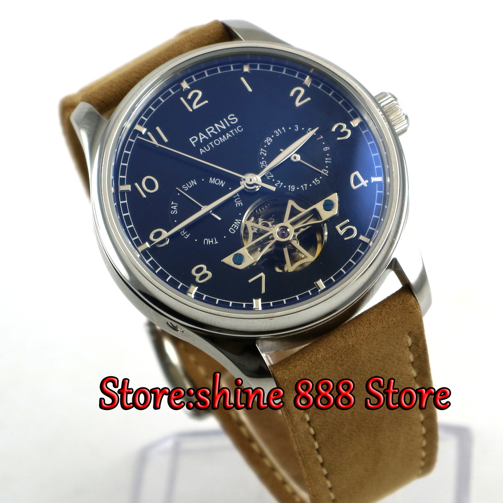 43mm  Parnis watch power reserve black dial date Luo strap Automatic Self-Wind Men's watch