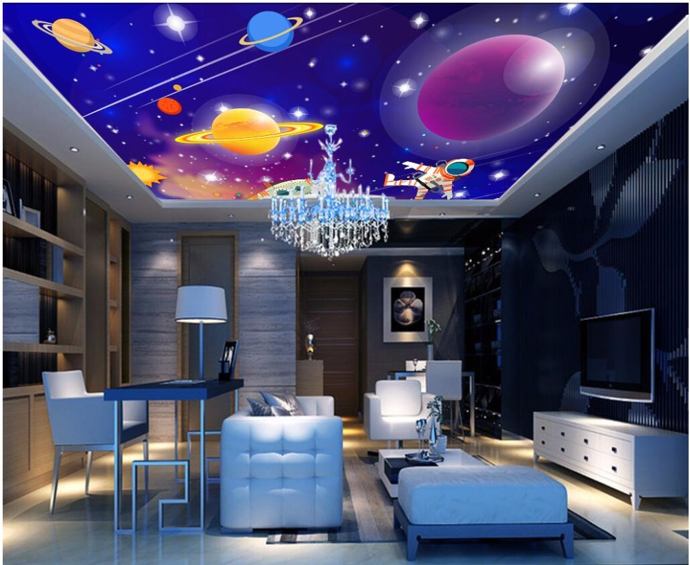Custom photo 3d wallpaper ceiling mural galaxy of colors and stars decoration painting 3d wall murals wallpaper for walls 3 d custom 3d ceiling photo wave dolphin 3d ceiling murals wallpaper home decor wallpaper on the ceiling papel de parede