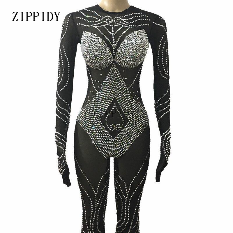 Black Mesh Sparkly Kristallen Bodysuit Sexy Leggings Hoofddeksel Kostuum Dansvoorstelling Slijtage Zangeres Stage Jumpsuit Redelijke Prijs