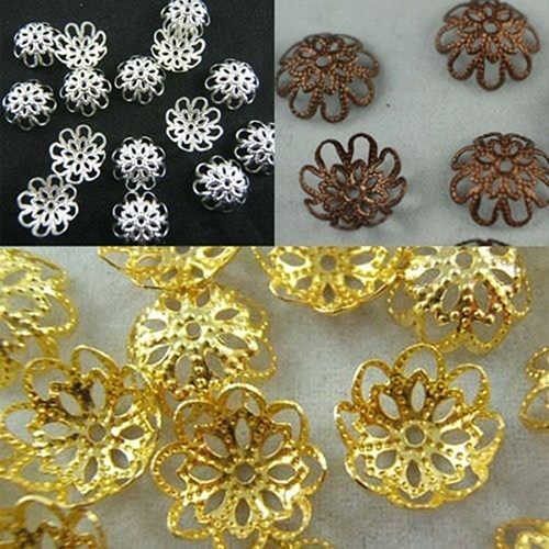 200 Pcs Moda Oco Flor 9 MM Caps Bead Descobertas Jóias DIY Loose Beads