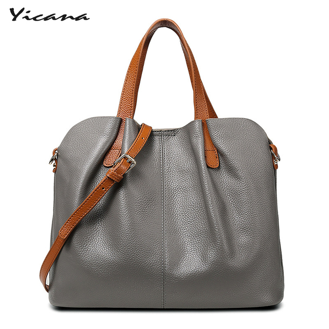Yicana 2018 new style 5 Colors Genuine Leather women's bag 100%  cow leather handbag big shoulder slanting casual bags