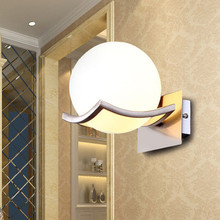 Simple round glass wall lamp LED energy saving bedroom bedside sconce vans of the led iq puzzle