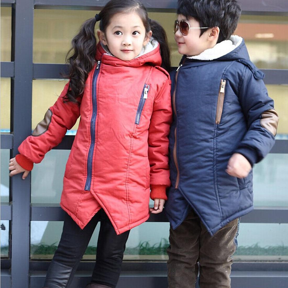 Yeni Marka Sonbahar Kış çocuk Moda Rahat Ceketler Erkek Kız Kaşmir Uzun Kollu Kapüşonlu Mont Çocuklar Sıcak Giyim Snowsuit