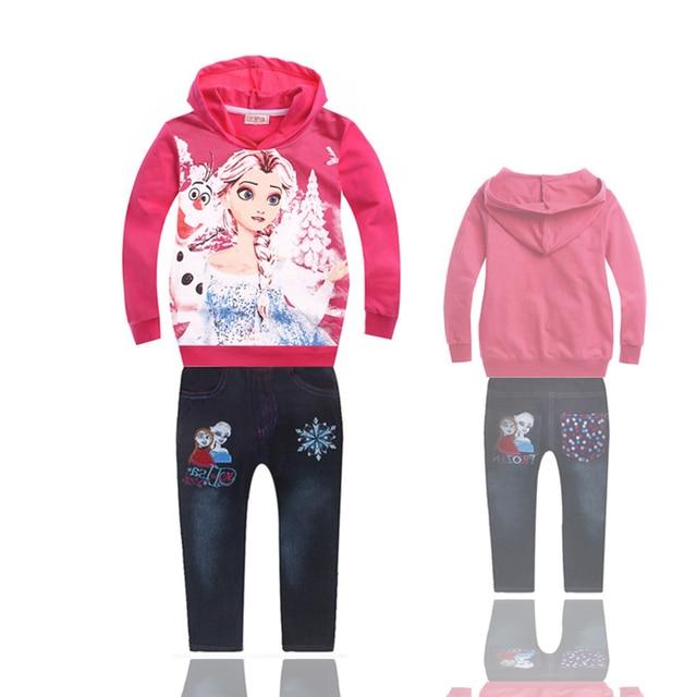 2016 nuevas muchachas del invierno rojo nieve traje de pantalones vaqueros + Sudadera Con Capucha de Felpa