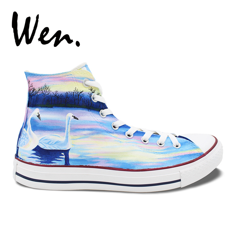 4d7f10db6db7 Wen Design Custom Original Hand Painted Shoes White Swans in Lake High Top  Canvas Sneakers Gifts for Woman Man