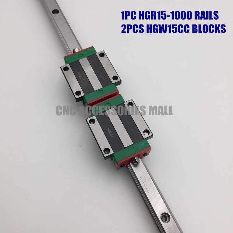 Original HIWIN 1PC Linear guide rail HGR15 L-1000mm Square linear rail & 2PCS HGW15CC slide block hiwin square guide rail mini pcb drilling machine