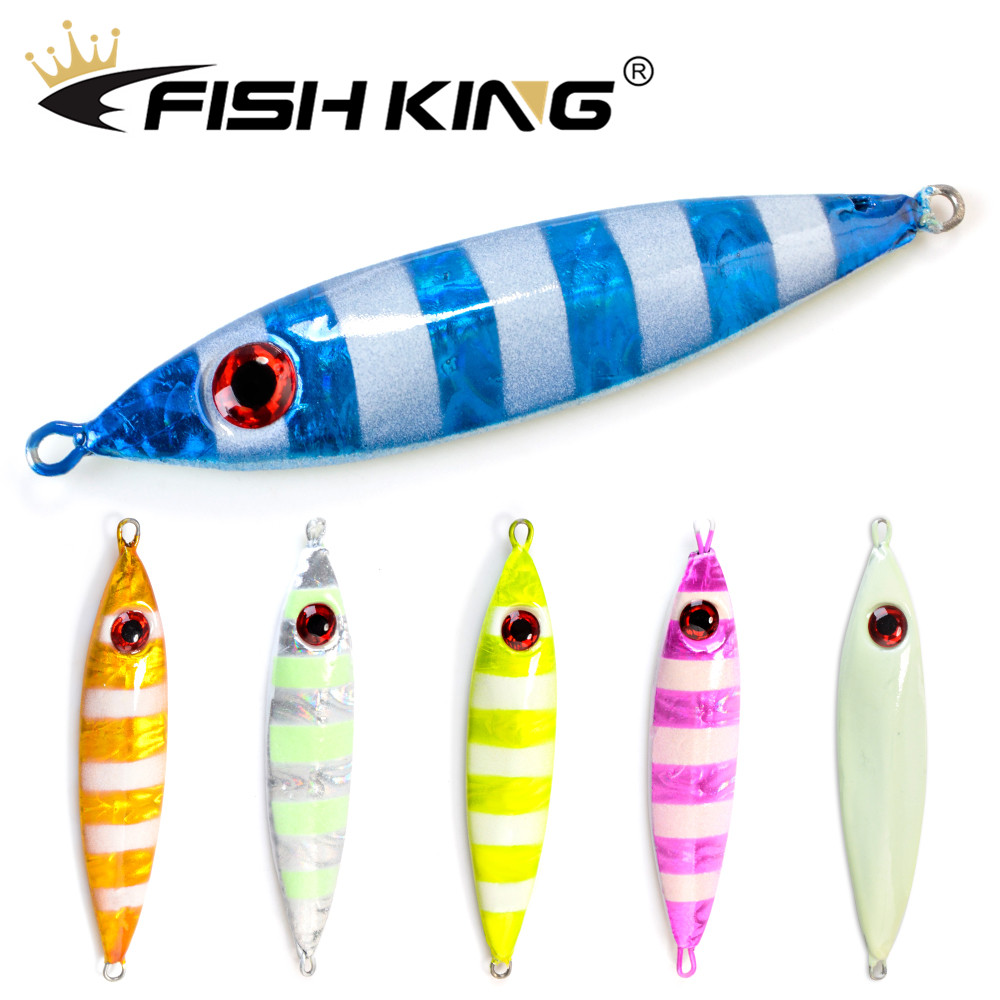 FISH KING <font><b>Metal</b></font> Cast <font><b>Jig</b></font> Spoon 30g 40g 50g <font><b>60g</b></font> 80g Shore Casting Jigging Lead Fish Sea Bass Fishing Lure Artificial Bait Tackle image