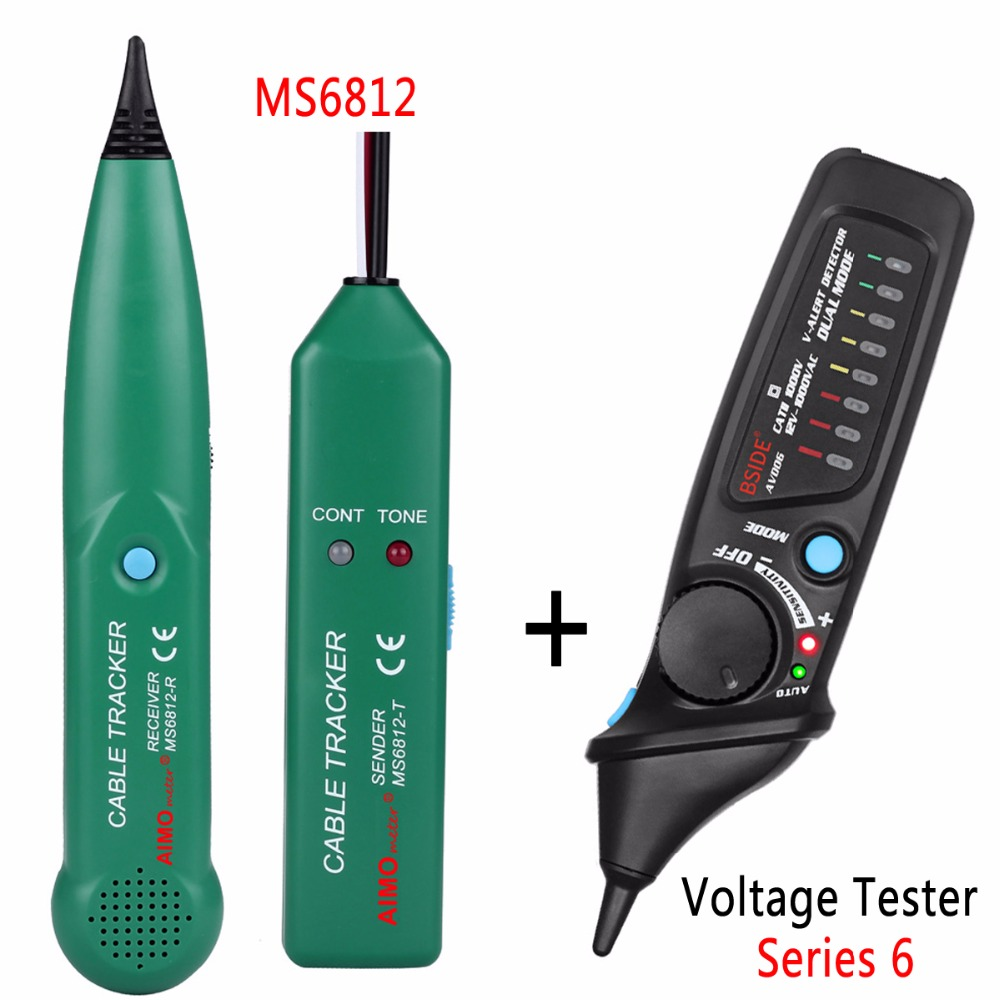 Professional Line detector AIMOmeter MS6812 LAN Network Cable Tester  Telephone Wire Tracker Tracer with AVD06 Voltage Detector
