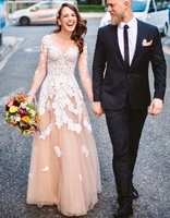 Champagne Tulle Ivory Lace Country Wedding Dress with Long Sleeves Vintage Bohemian Wedding Gowns Beach Reception Bride Dresses