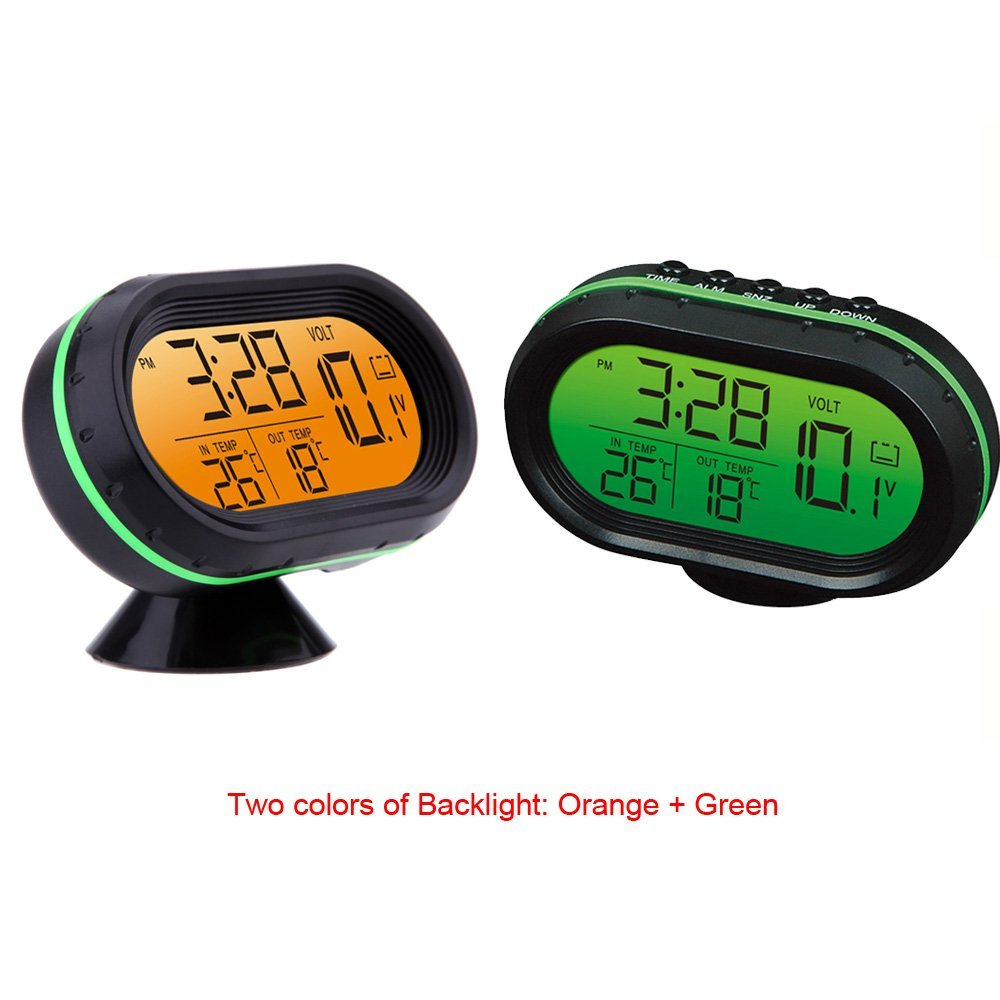 Multi-Function Digital 12V Car Voltage Alarm Temperature Thermometer Clock LCD Monitor Battery Meter Detector - Green multi function green