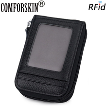 COMFORSKIN Brand Genuine Leather Card Wallet Hot RFID Protection Large Capacity Holders New Arrivals Organ Style Case