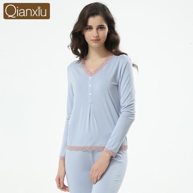 Qianxiu marca mulheres Pijamas Set moda primavera Modal mangas Sexy Lace Pijamas Pijamas de salão Pijamas roupa