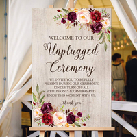 Welcome to our Unplugged Ceremony Sign Unplugged Wedding Sign Rustic Unplugged Sign With Floral